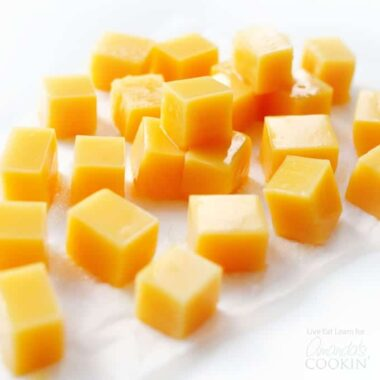 squares of orange gummies