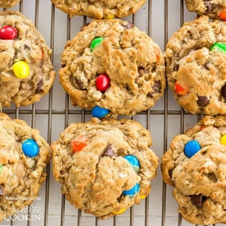 Monster Cookies: peanut butter andoatmeal cookies packed with chocolate chips and colorful M&M's. These cookies are big on flavor and especially fun to make with kids!