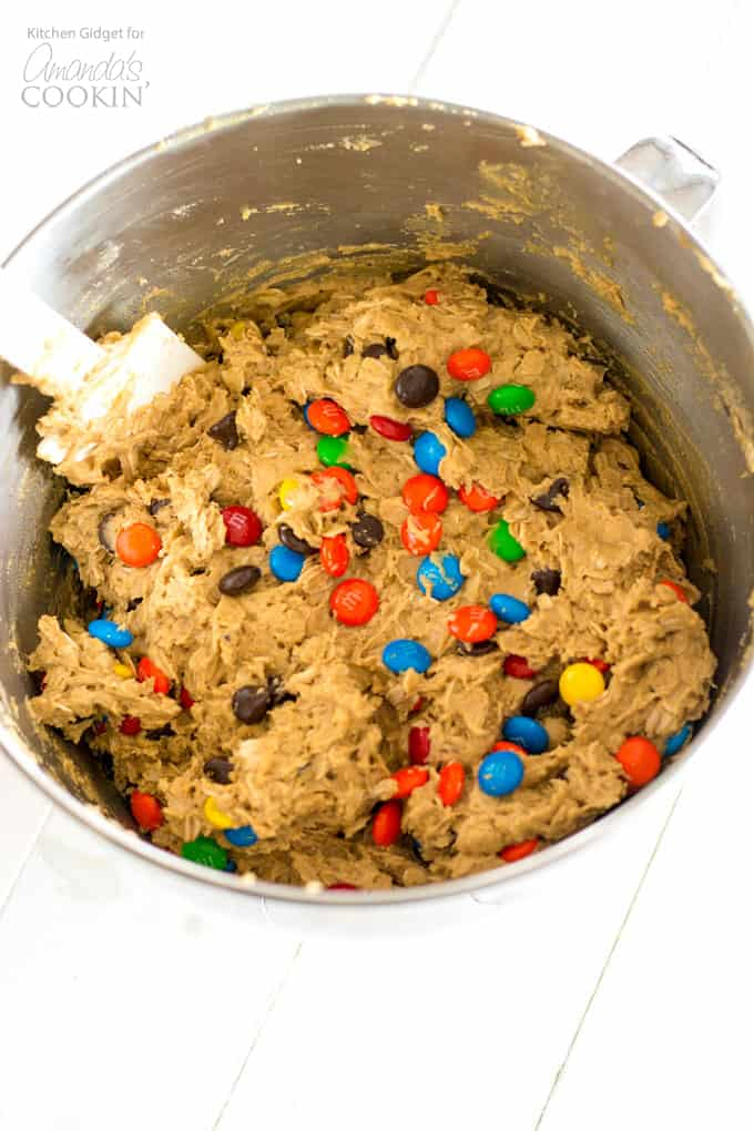 How to make Monster Cookies- ingredients in mixing bowl