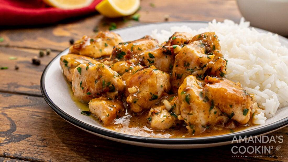 plate of garlic chicken