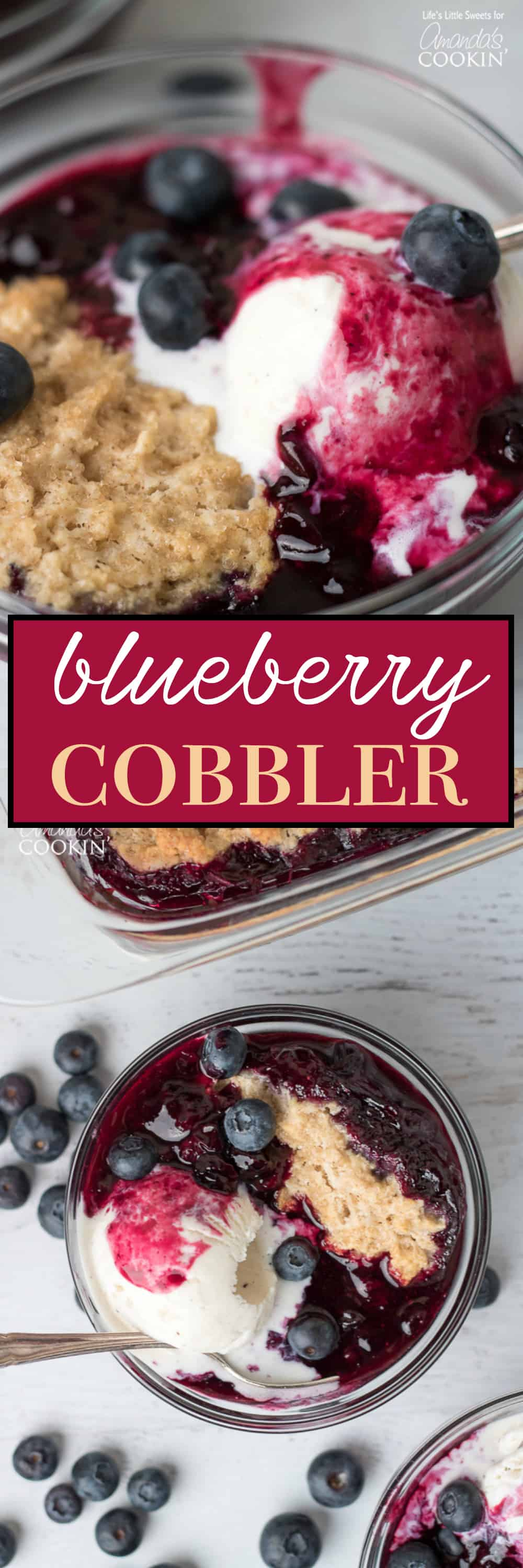 This Blueberry Cobbler has fresh, ripe blueberries with a crisp, biscuit on top. It's wonderful on its own or served with vanilla ice cream!