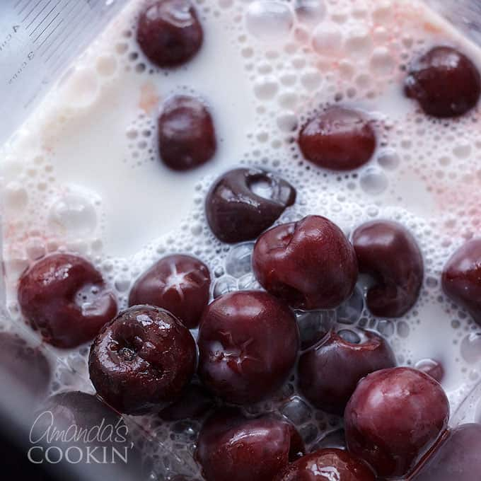 frozen cherries and almond milk for smoothies