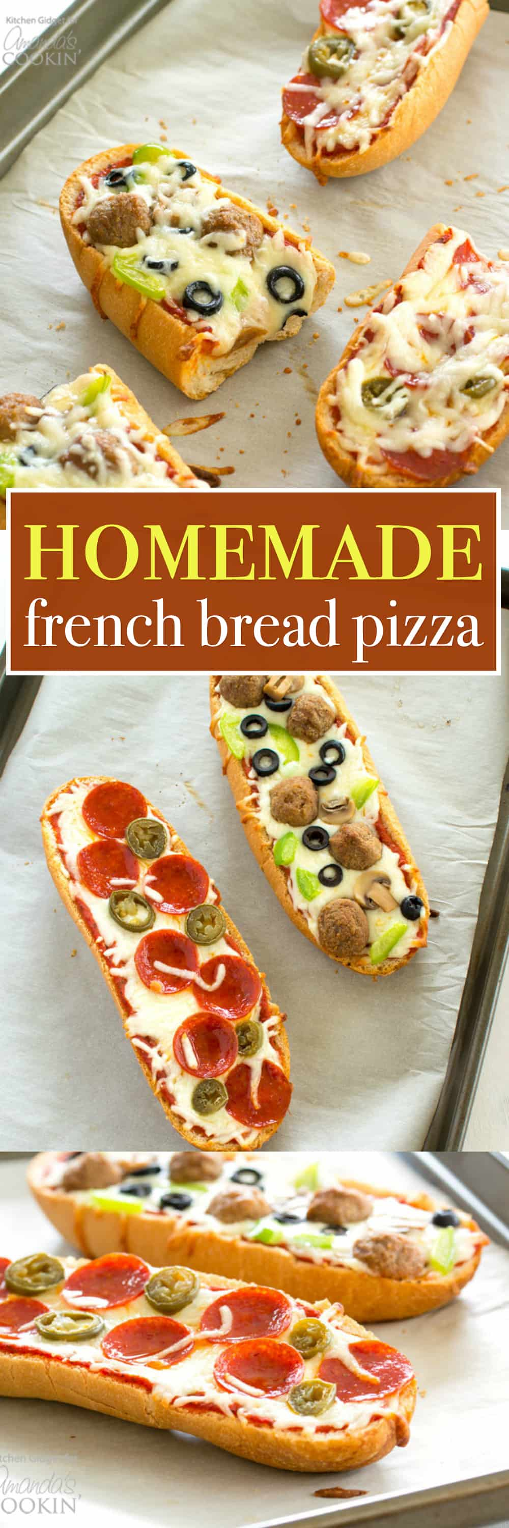 Ditch the frozen pizza and make this homemade French bread pizza that tastes a thousand times better. Pizza night is so easy when you use French bread for the crust. Plus, you can customize the toppings for a meal everyone will enjoy!