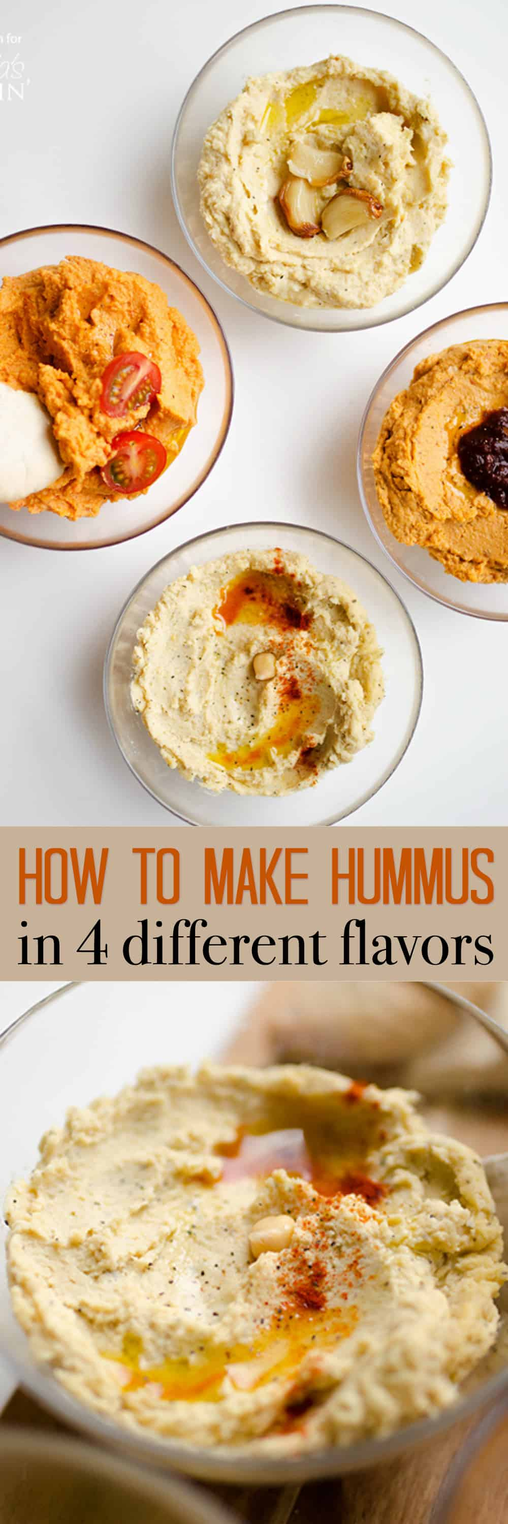 Today I'm showing you how to make hummus in 4 tasty flavors. Hummus is the perfect creamy, protein-packed spread to use as a snack dip or to spread onto sandwiches and wraps. But did you know it's ultra-simple to make at home, and just takes 5 minutes?