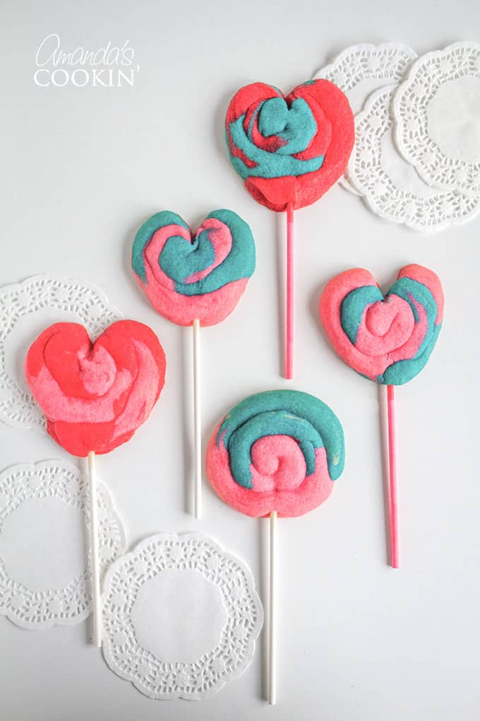 Colorful Valentine Play Dough Cookie Pops