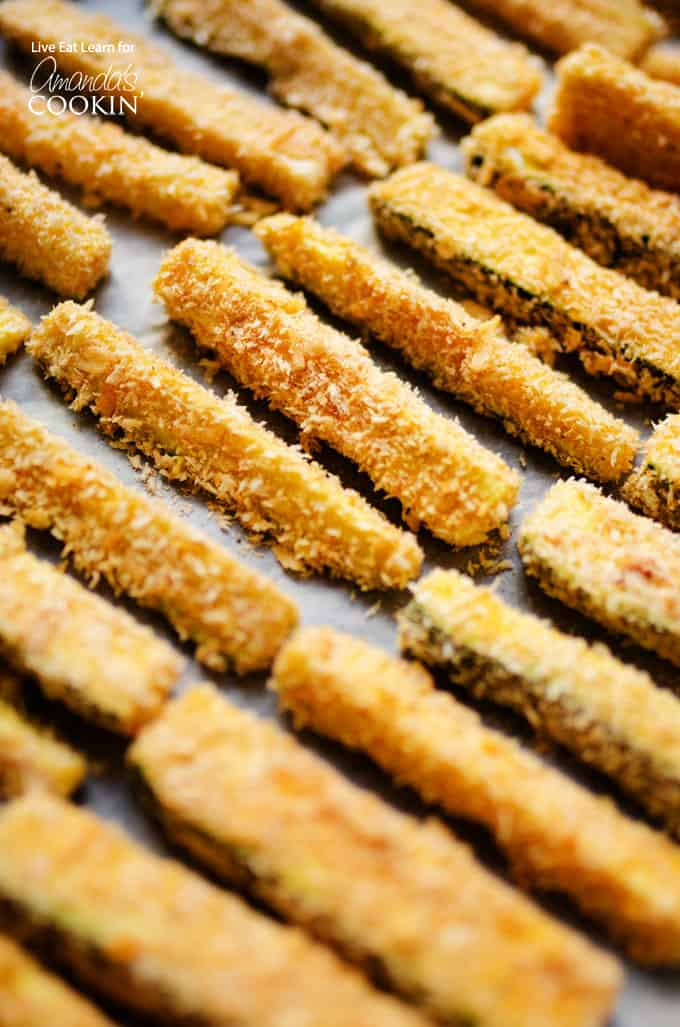 Crispy baked zucchini fries on pan