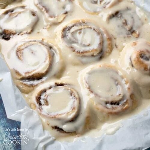 overhead view of cinnamon rolls