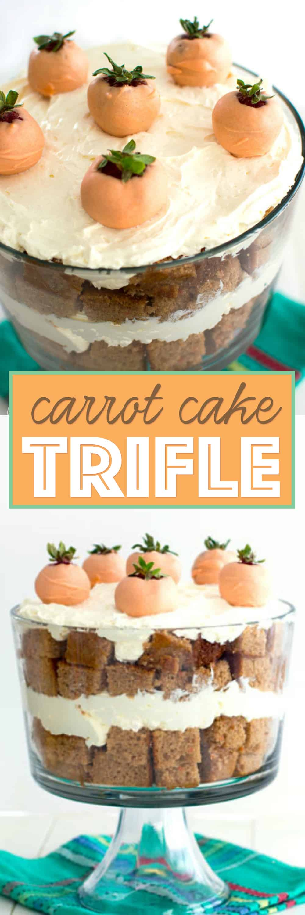 "This springtime carrot cake trifle features layers of moist carrot cake and no-bake cheesecake filling. Jazz it up with your favorite carrot cake additions such as walnuts or raisins. Topped with adorable decorations like chocolate covered strawberry ""carrots,"" this dessert is sure to be an Easter showstopper!"