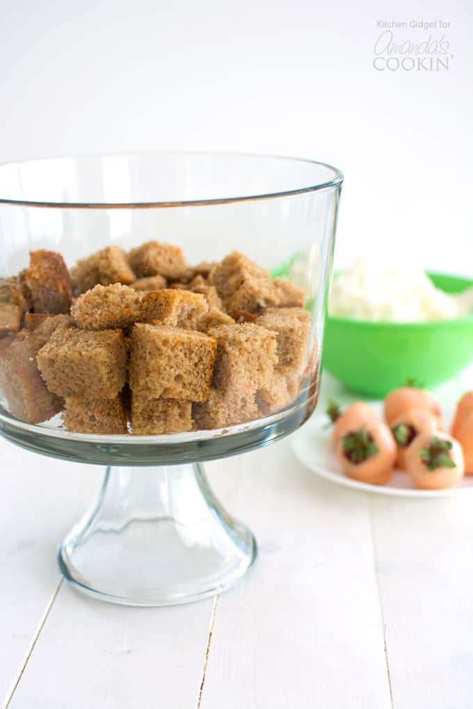 Carrot Cake squares in a trifle bowl