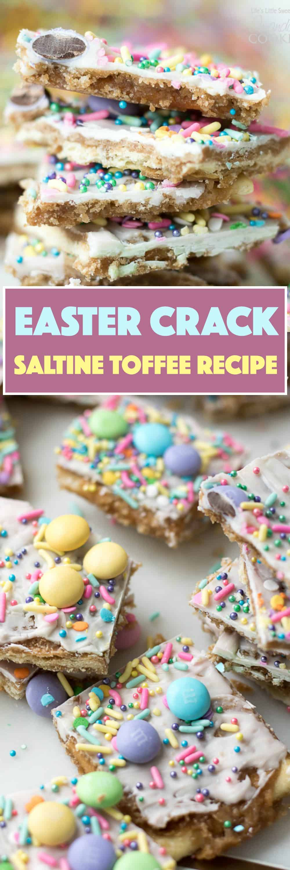 Try this Easter Crack recipe this Spring! This classic Saltine Toffee is an easy-to-make recipe using simple pantry ingredients like white chocolate, pastel sprinkles, and your favorite Easter candies.