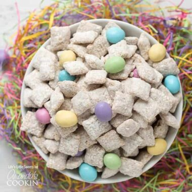 muddy buddies with easter candy in a bowl