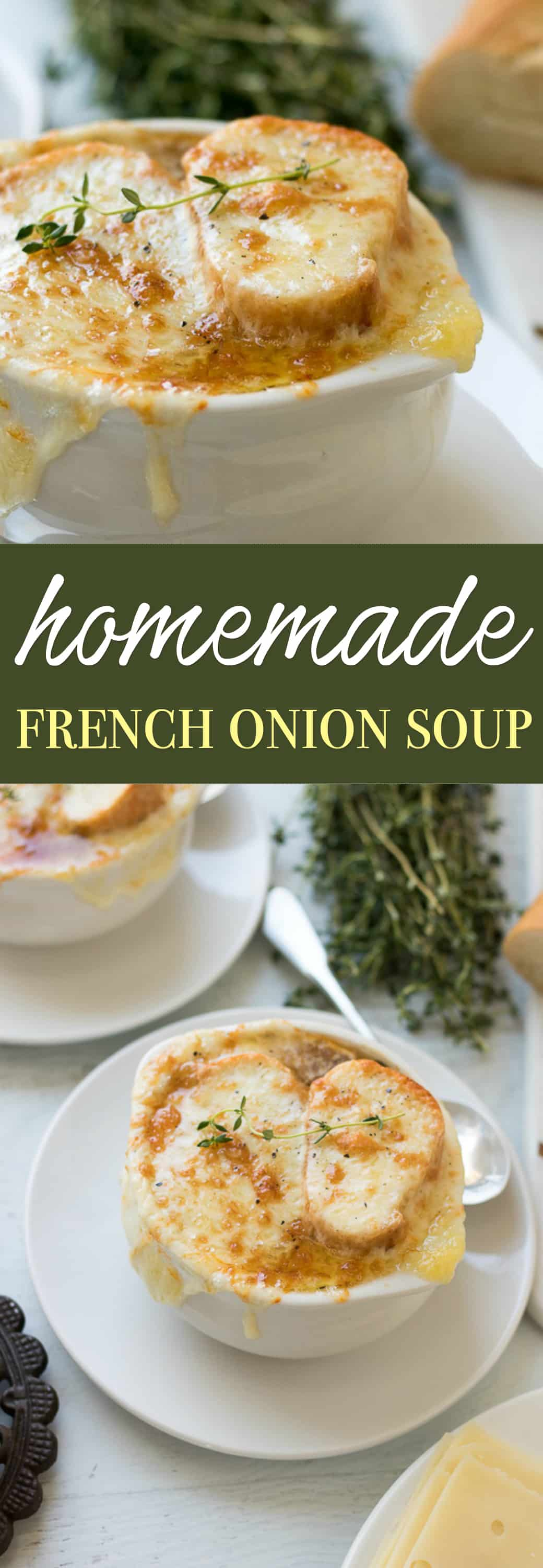 Caramelized onions in a reduction of white wine and sherry with herbs of thyme and bay leaves make this French Onion Soup delicious. The topping of French baguette bread wrapped in 3 cheeses then melted to a golden, crispy crust, make it ultra-satisfying.