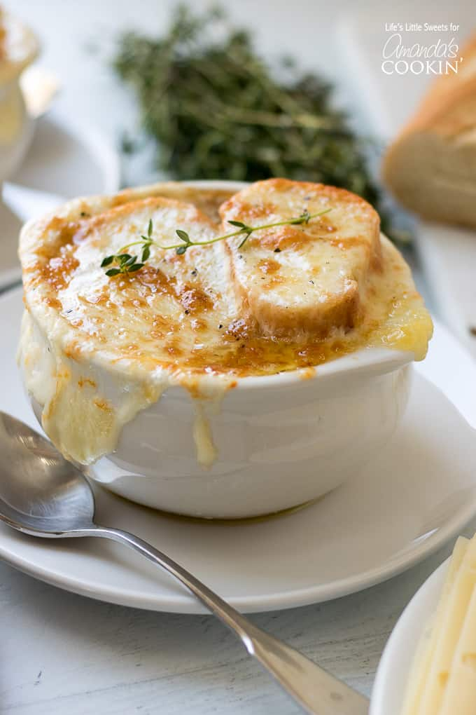 cheesy french onion soup in bowl