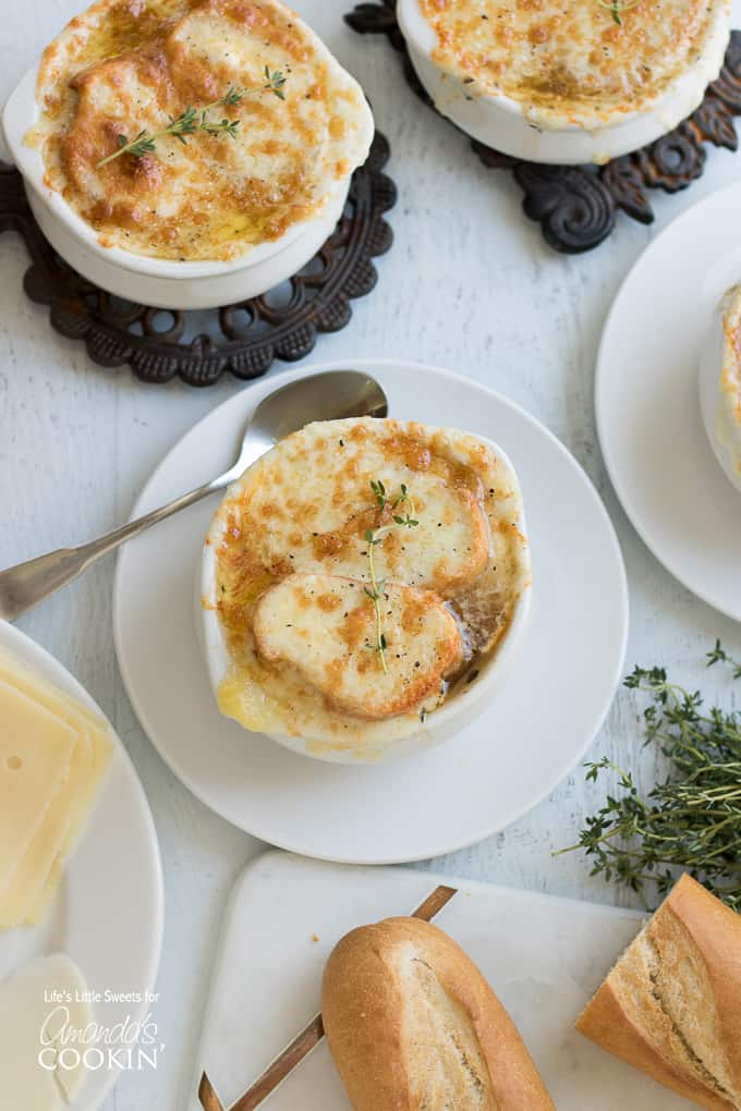 French onion soup overhead shot with spoon