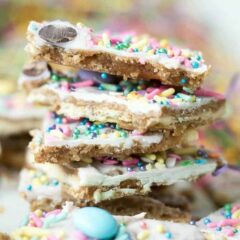 stack of easter candy bark