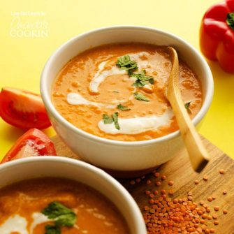 This Smoky Romesco Soup draws inspiration from the delicious Spanish pepper sauce, romesco! With smoky roasted peppers, juicy Roma tomatoes, and a dollop of almond butter, this is a creamy soup you're going to love.