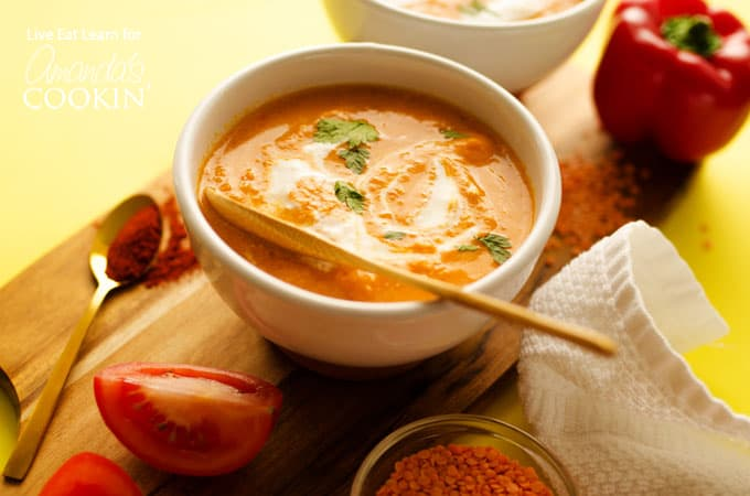 Smoky Romesco Soup: a creamy soup that only takes 15 minutes to make!