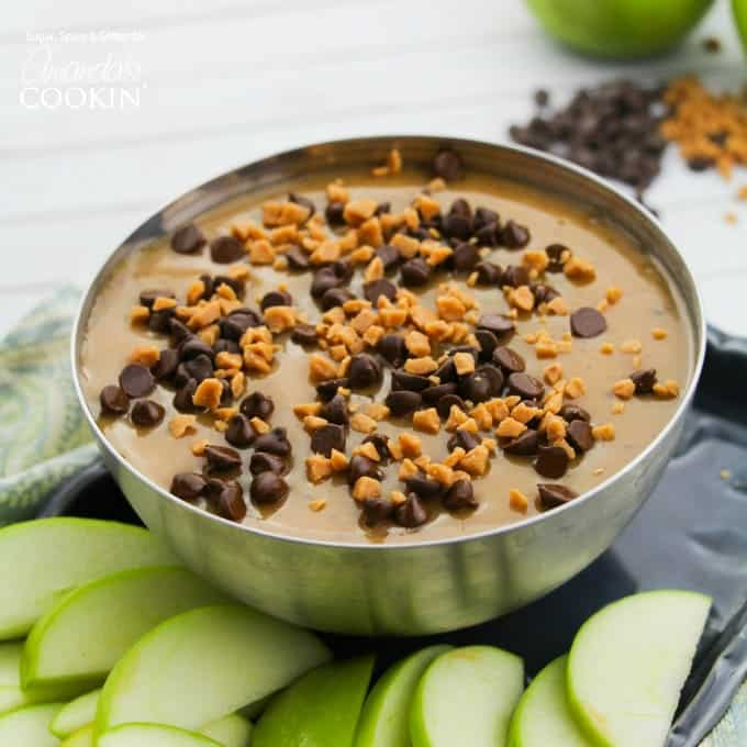 Caramel apple dip in silver bowl