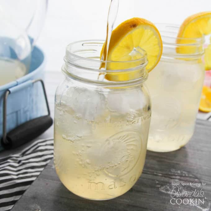 Spiked lemonade in mason jar