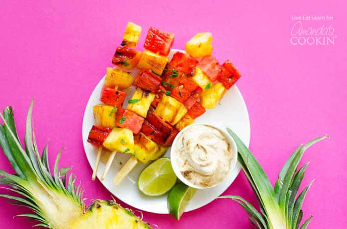Watermelon and Pineapple on skewers with yogurt dipping sauce