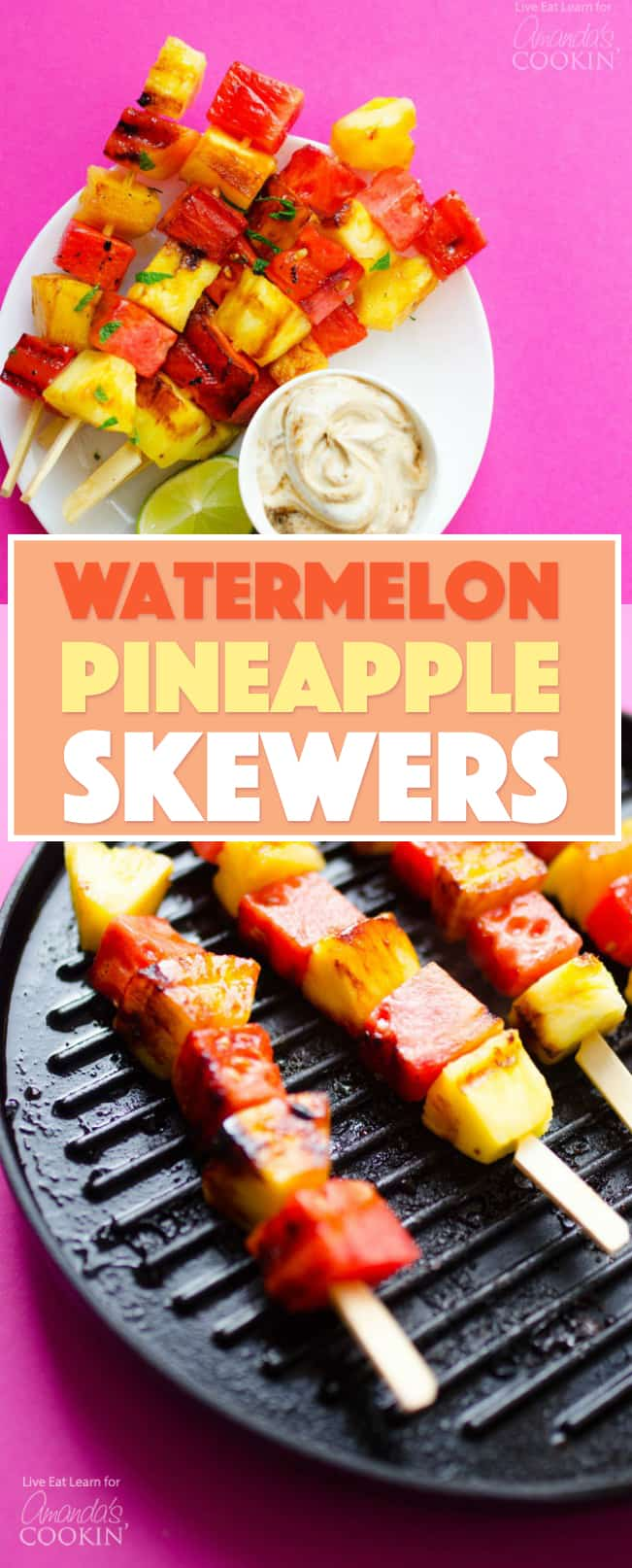 Got the grill fired up and looking for a quick dessert? These Grilled Watermelon Pineapple Skewers have just 4 easy ingredients and are dipped in the most deliciously simple yogurt sauce!