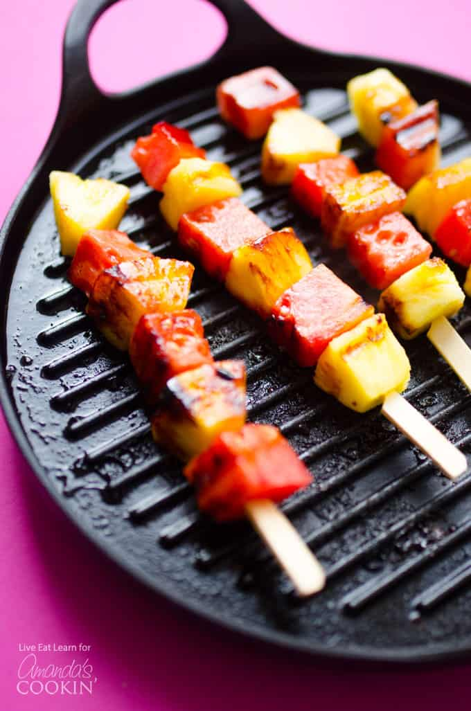 Watermelon Pineapple Skewers on a grill pan