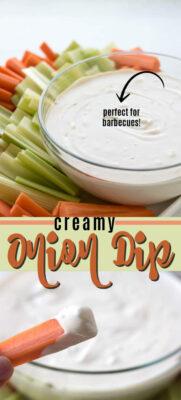 creamy onion dip pin image
