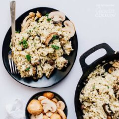 Mushroom Risotto on a black plate