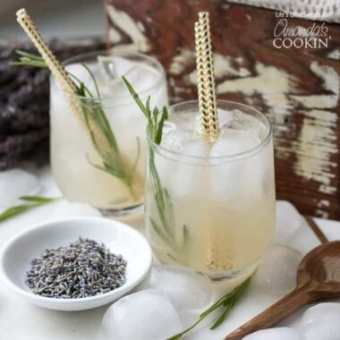 Lavender Lemonade with gold straws