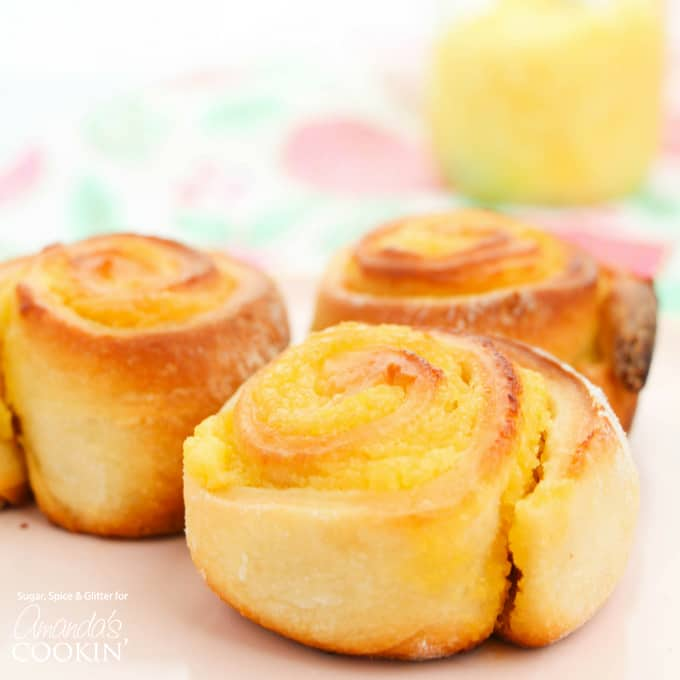 Lemon Sweet Rolls with lemon curd