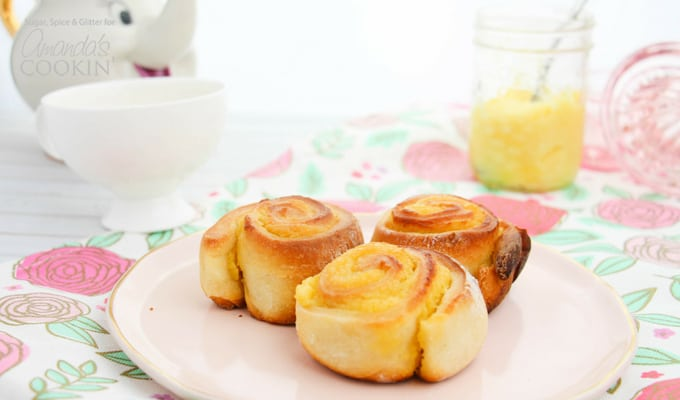 Lemon Sweet Rolls on a plate