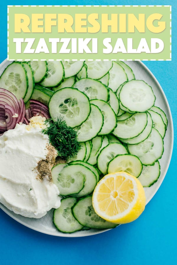 Cucumbers mixed with Tzatziki sauce combine to make this delicious and refreshing Tzatziki Salad. This summer salad recipe will be one to bookmark!