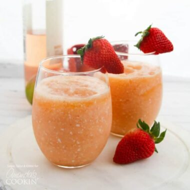 Wine Slushies garnished with strawberries