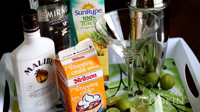 Ingredients needed for Key Lime Pie Martini