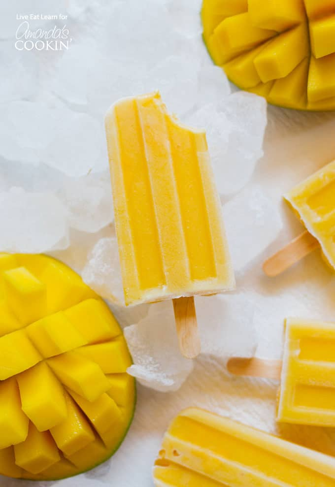 Mango Yogurt Popsicle with bite