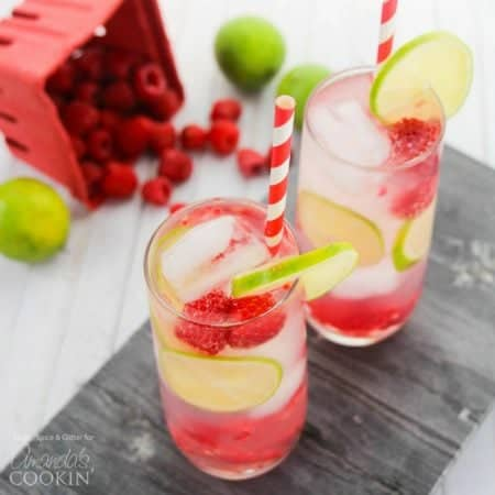 A delicious and refreshing raspberry summer cocktail, this Raspberry Gin Rickey is a fun, fruity drink with the perfect amount of sweet-and-tart!