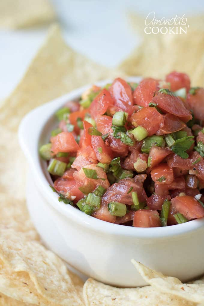fresh tomato salsa in a bowl with tortilla chips