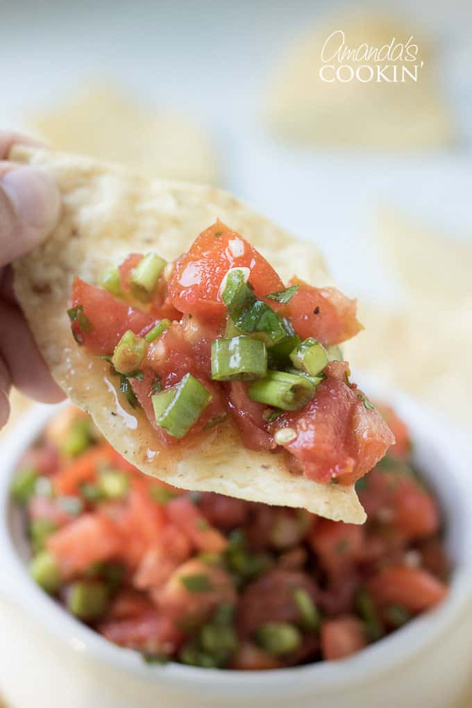 Homemade salsa made with fresh tomatoes