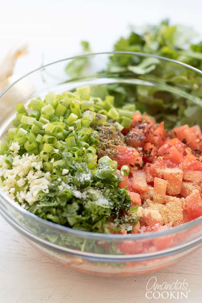 put all salsa ingredients into a bowl