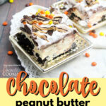 chocolate peanut butter lasagna pin image