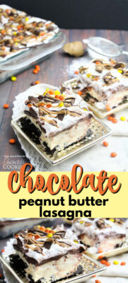 chocolate peanut butter lasagna pin image