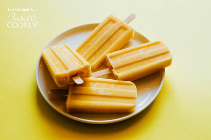 Creamsicle Popsicles on a plate