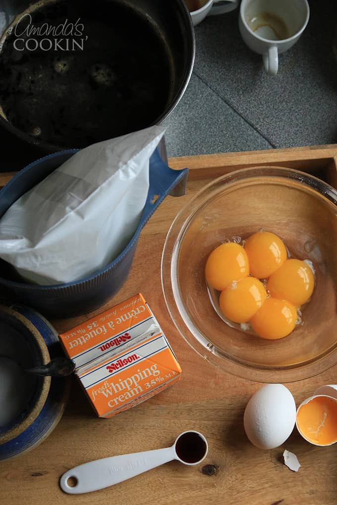 First, seperate your egg yolks for your espresso creme brulee.