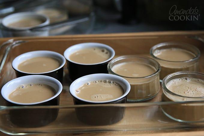 Making espresso creme brulee in ramekins