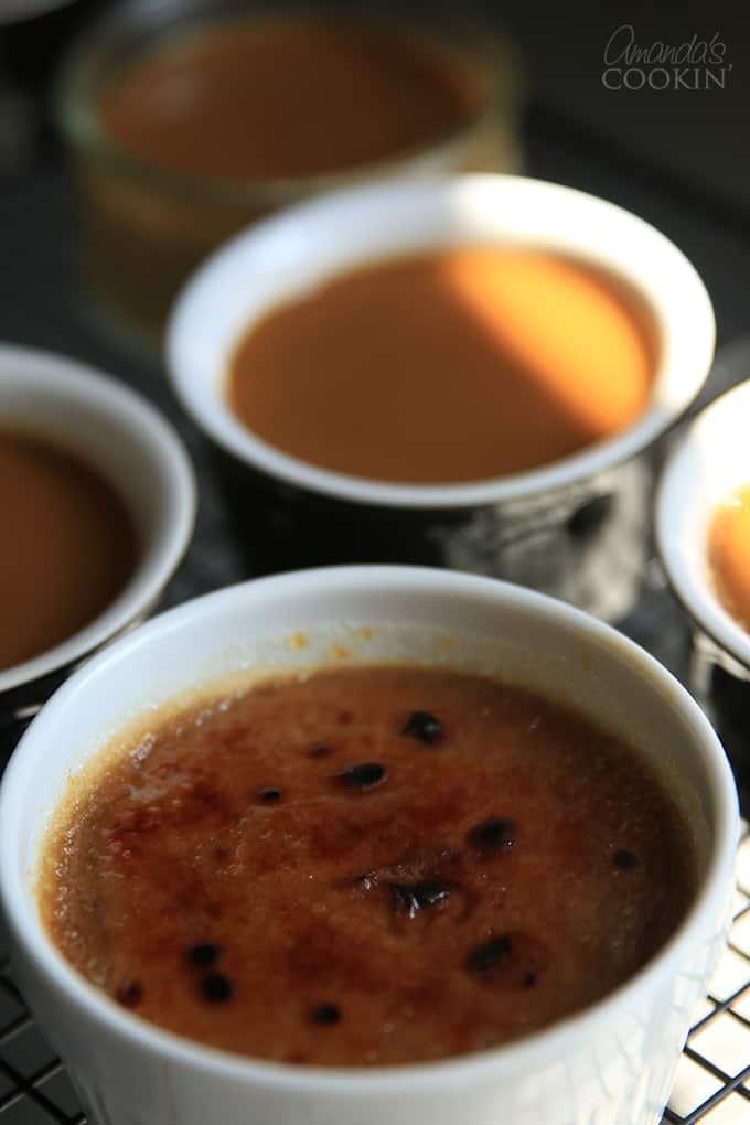 Espresso Creme Brulee in a ramekin.