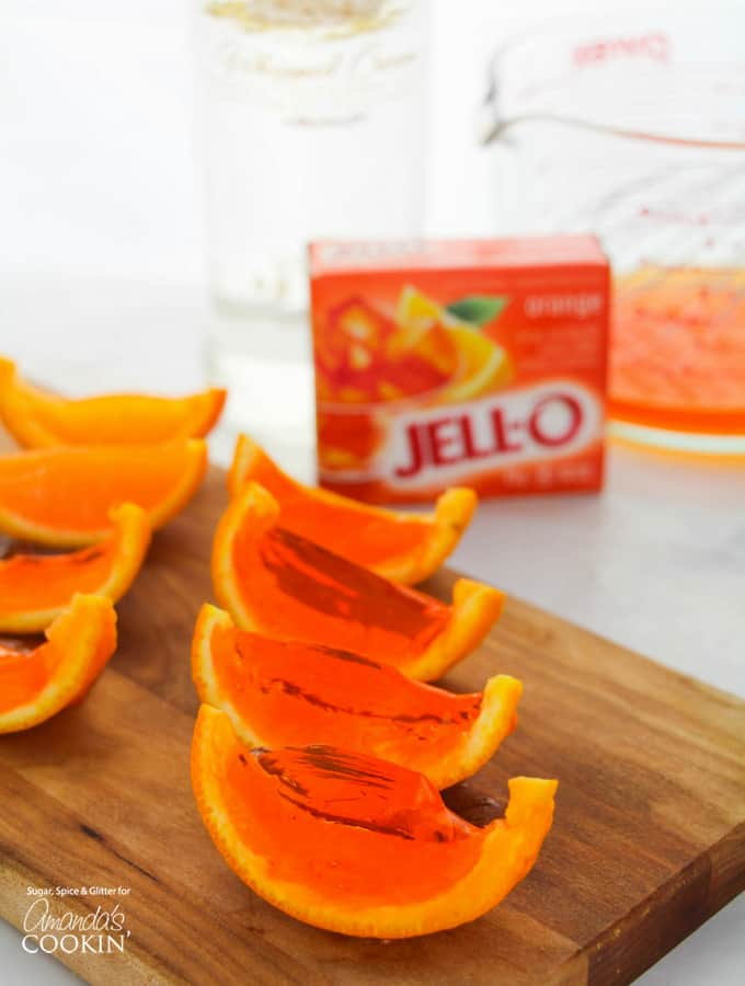 Orange Jell-O inside orange rinds