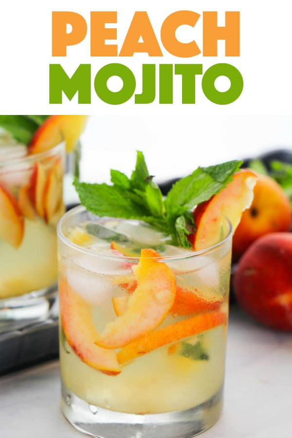 Fruity peach mojito with fresh mint and peaches for garnish