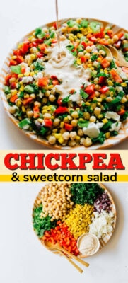 sweetcorn and chickpea salad pin image