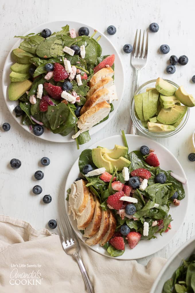 Strawberry Salad from above with avocado, blueberries, and chicken.