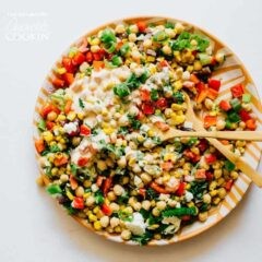 This Sweetcorn and Chickpea Salad recipe is quick to whip up and so tasty. It's filled with healthy proteins and packed with flavor!